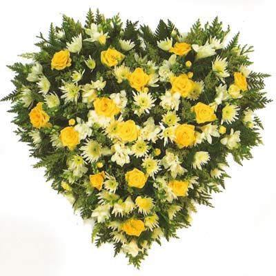 Yellow Roses n Gerbera Heart Bouquet