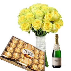Yellow Roses with Chocolates n Champagne