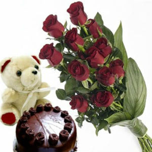 1/2Kg Chocolate Cake, Soft Toy and 12 Red Roses