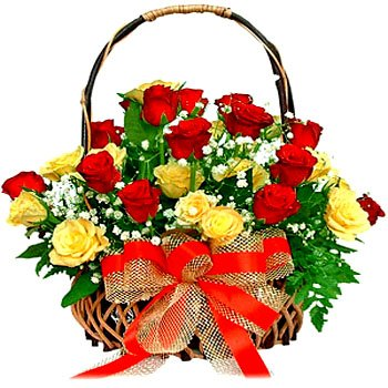 Special Basket of Red n Yellow Roses