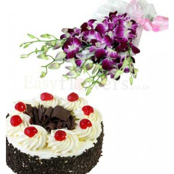 Bunch of Orchids with 1/2 Kg Black Forest Cake