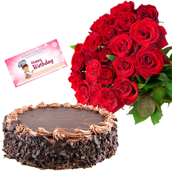50 Red Roses Bunch with Chocolate Cake and Card