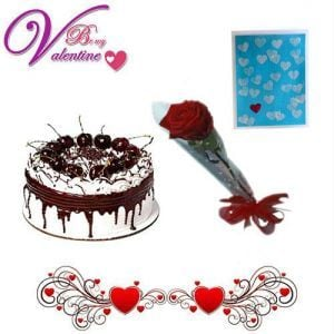 Single Red Rose with 1Kg Black Forest Cake