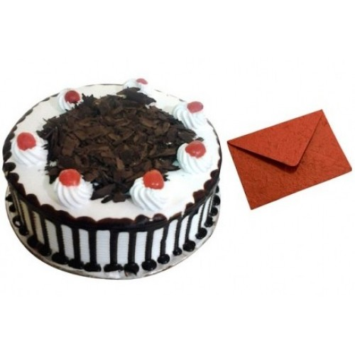 1Kg Black Forest Cake with Greeting Card
