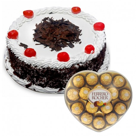1/2Kg Black Forest Cake and Ferrero Chocolates