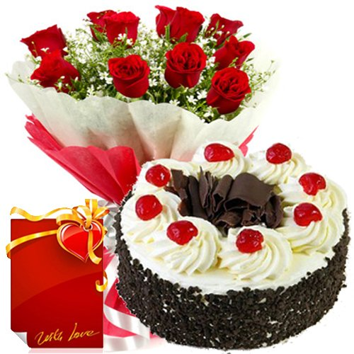 Send 1Kg Black Forest Cake With 12 Red Roses To India