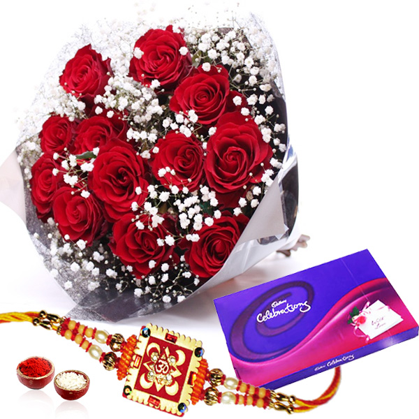 Rakhi with Red Roses Celebration