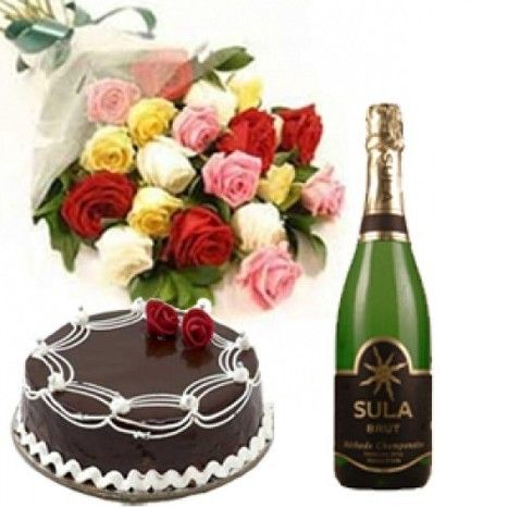 20 Mix Roses with Chocolate Cake n Sula Champagne
