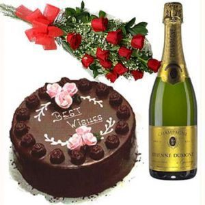 Red Roses with Cake n Champagne