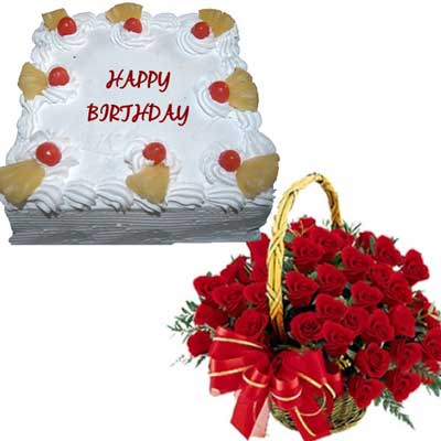1Kg Pineapple Cake With 25 Red Roses Basket