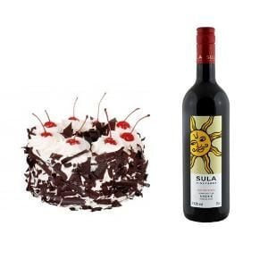 Black Forest Cake n Sula Wine