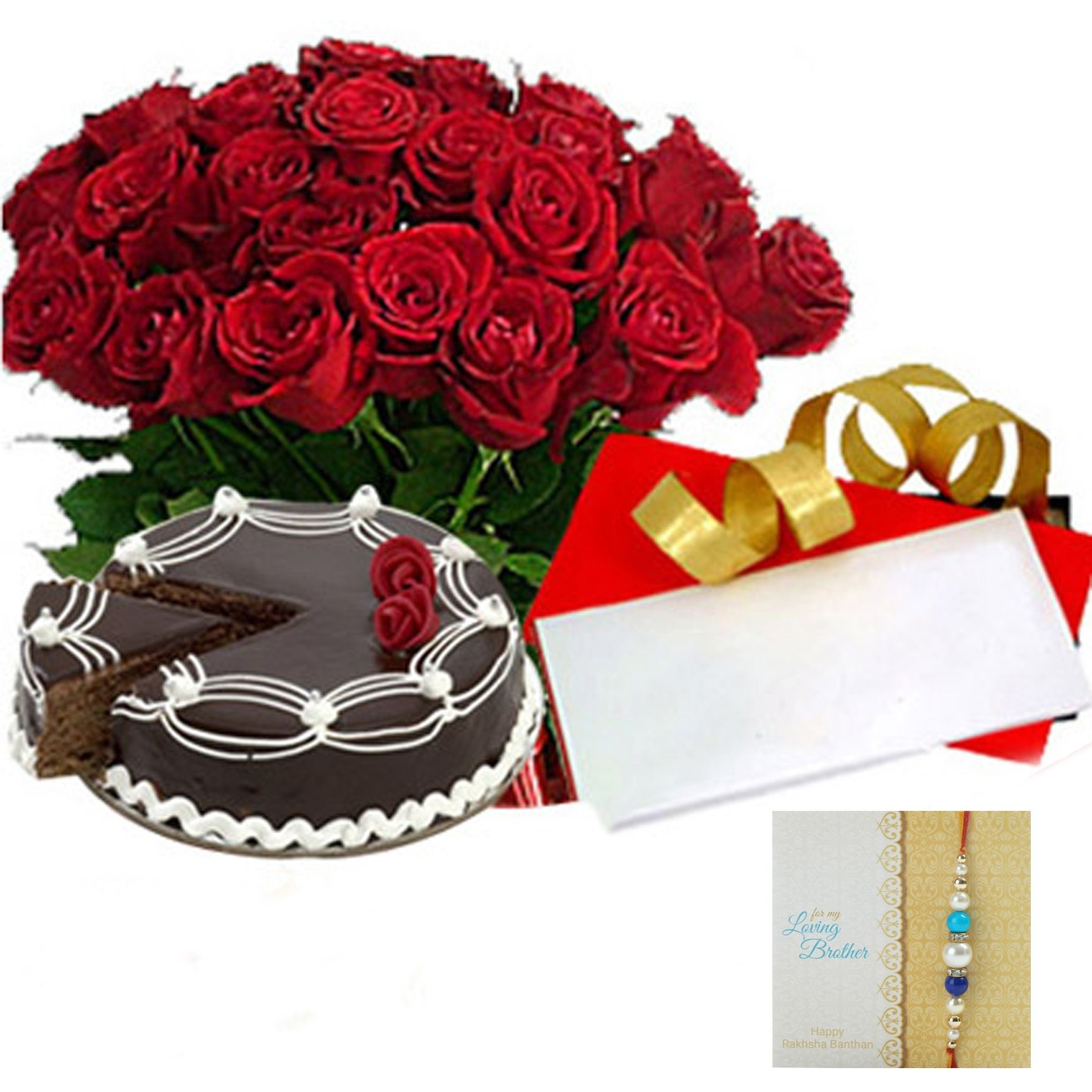 Rakhi with Chocolate Cake n Roses