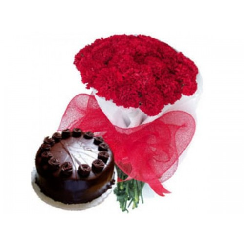 12 Red Carnations Bunch with 1/2Kg Chocolate Cake