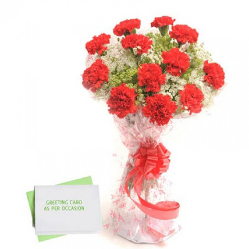 12 Red Carnations Bunch with X-Mas Card