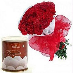 Bunch of 12 Carnations and 1Kg Rasgulla