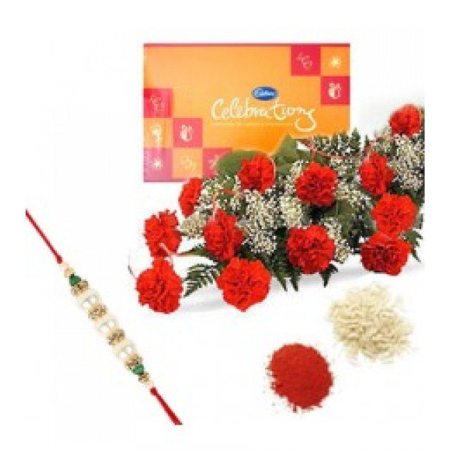 Rakhi with 12 Red Carnations and Celebration Chocolates