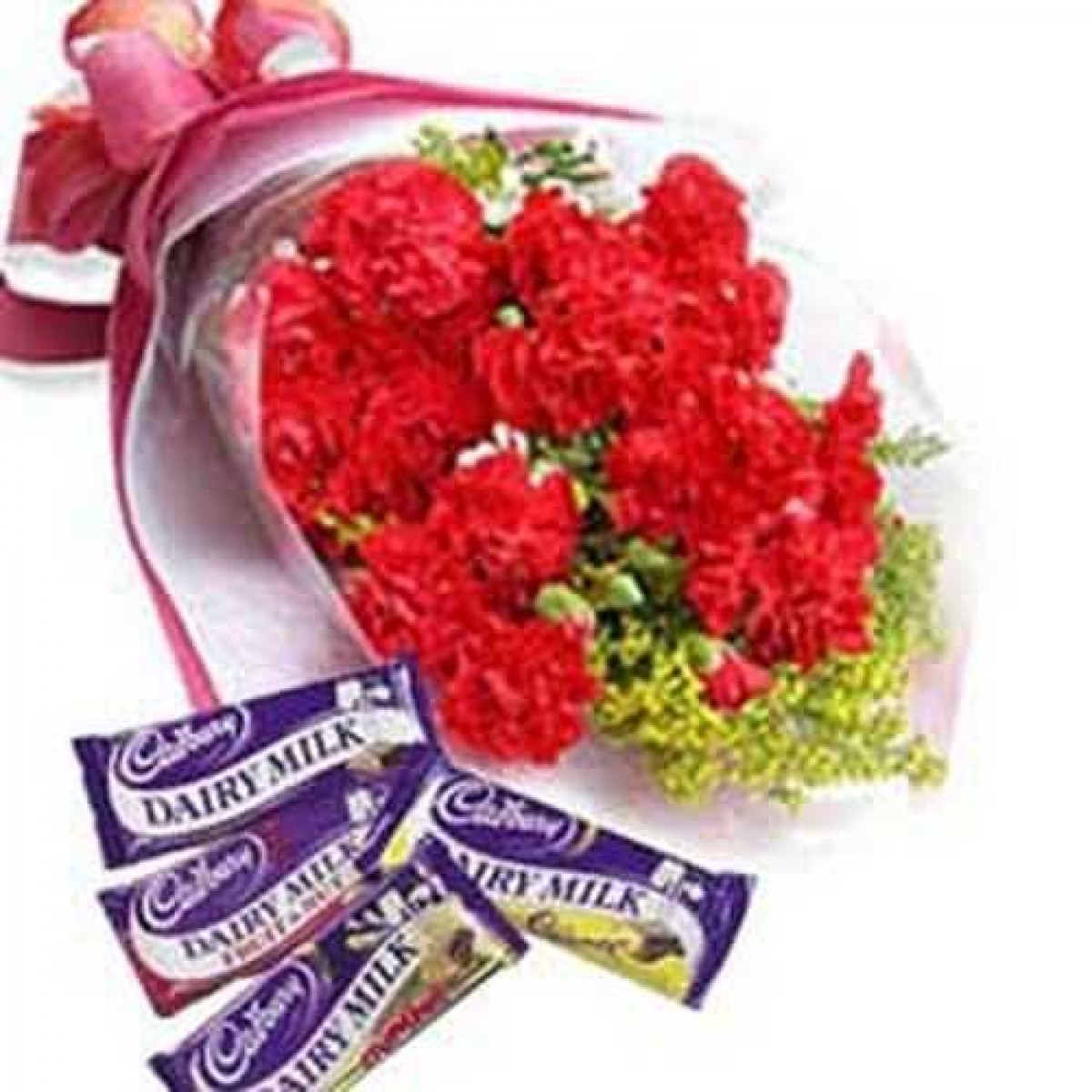 Bunch of 12 Red Carnations with 4 Dairy Milk Chocolates