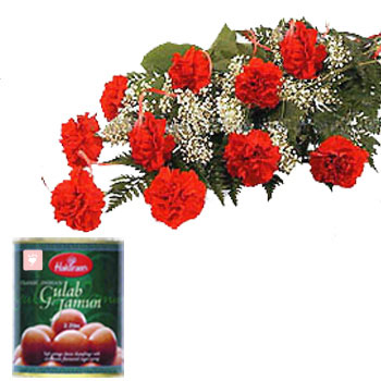 12 Red Carnations with Gulab Jamun