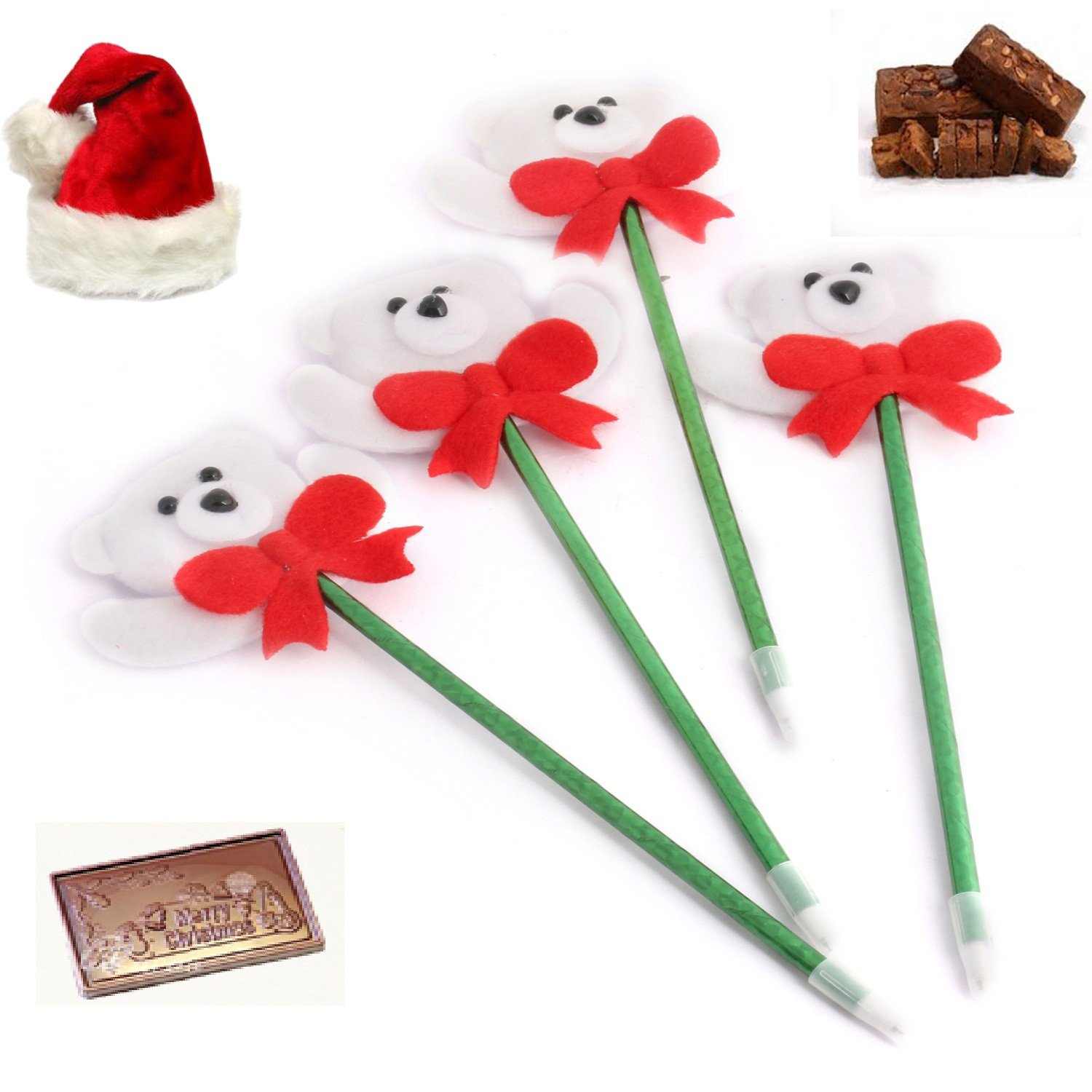 Set of 4 Snow Teddy Pens Christmas Hamper