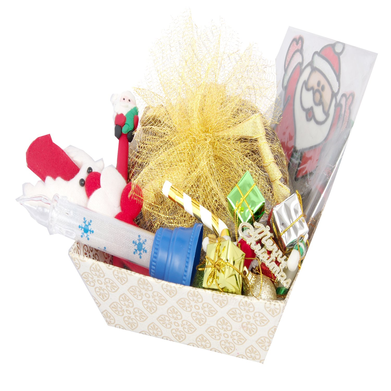 Christmas White Basket Plum Cake Hamper