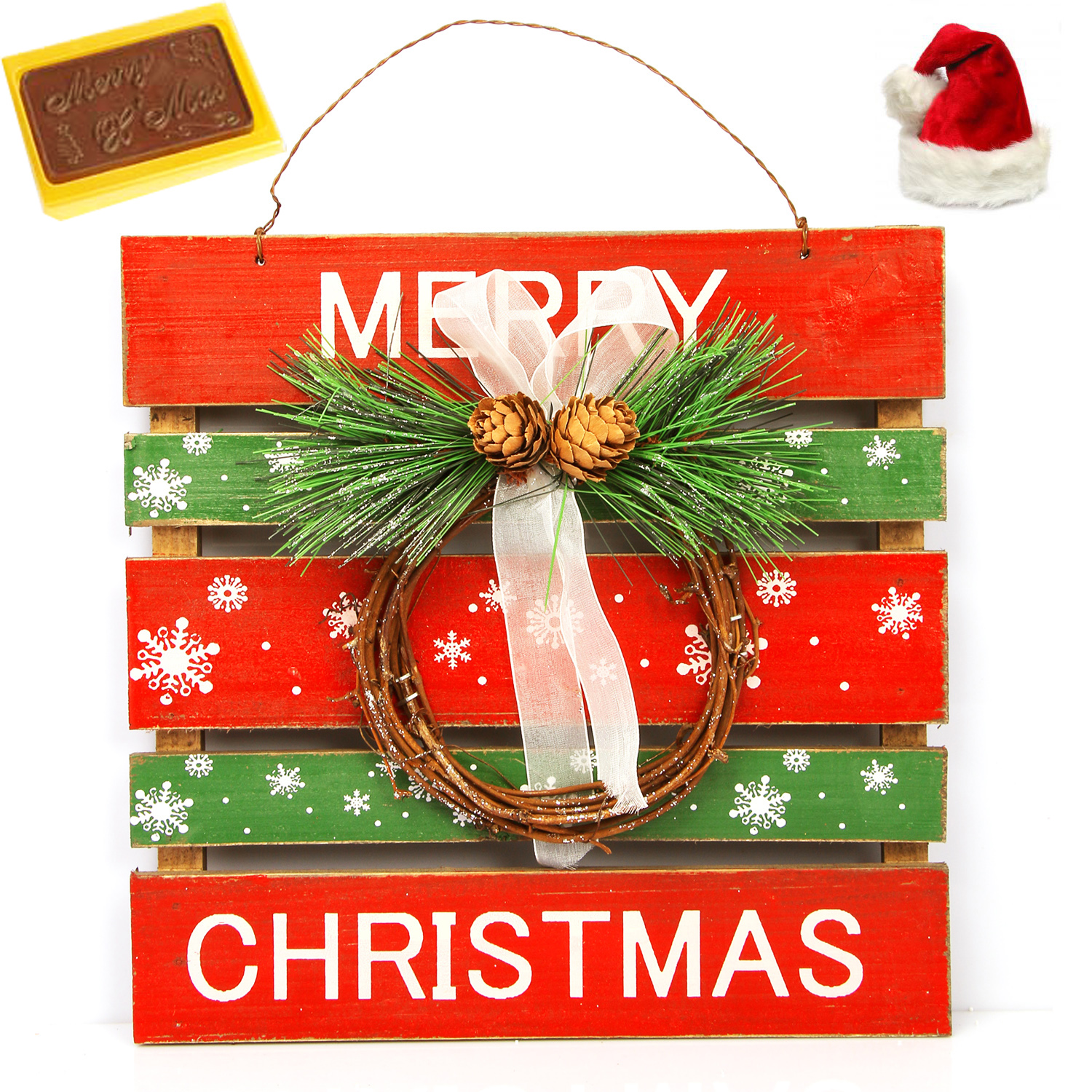Merry Christmas Wooden Hanging Hamper