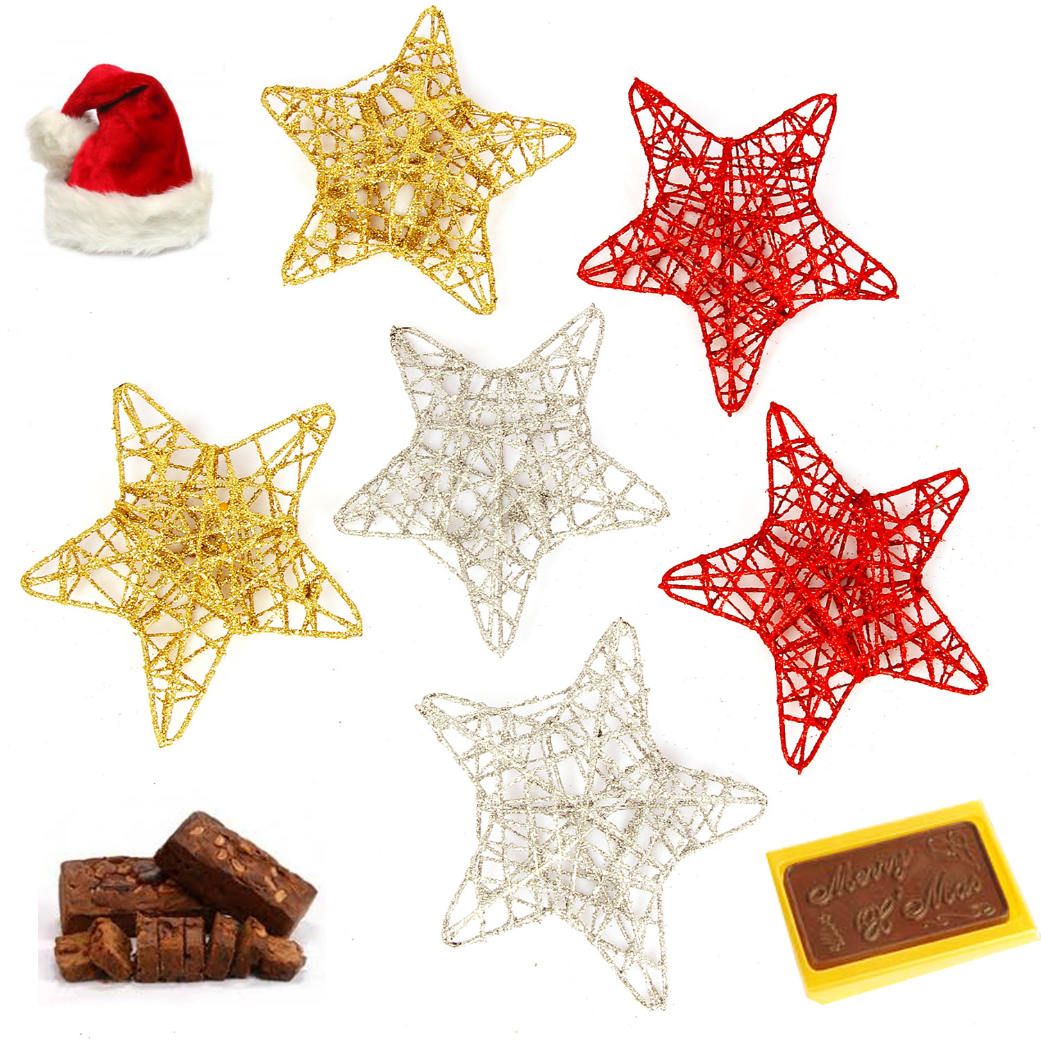 Set of 6 Christmas Wired Star Decoration Hamper