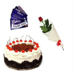 Single Rose with Cake n Chocolates