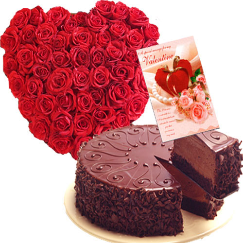 50 Red Roses in Heart Shape and Chocolate Cake
