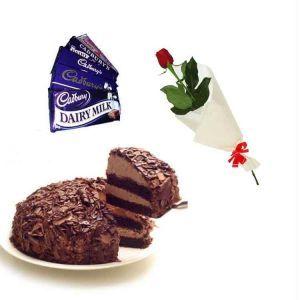 Chocolate Cake With Single Rose n Chocolates