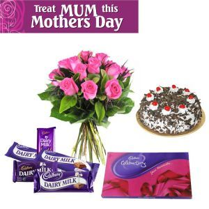 Flowers Cake Chocolates for Mother