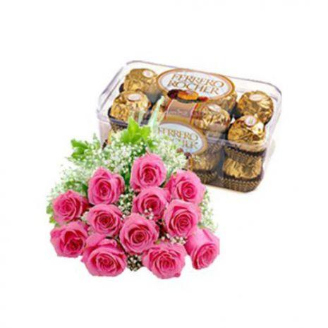 12 Pink Roses N Delicious Ferrero