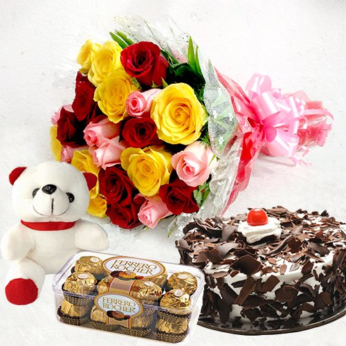 Mix Roses with Ferrero Rocher n Black Forest Cake and Teddy