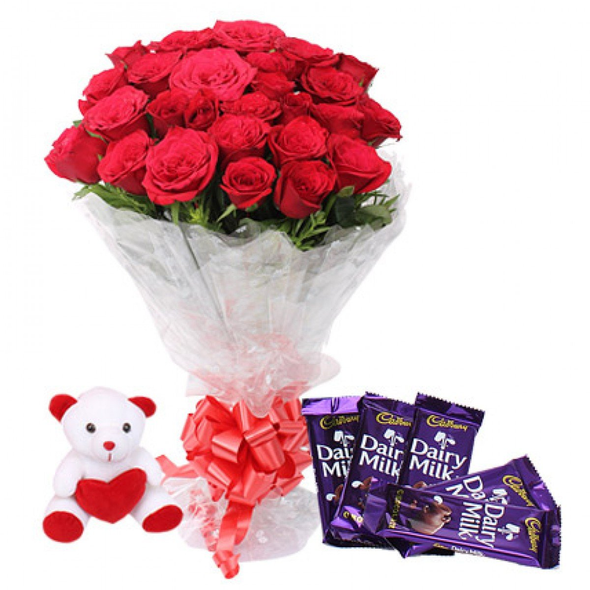 12 Red Roses With Chocolates n Teddy