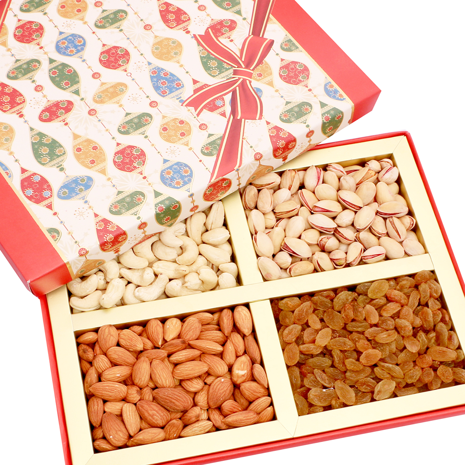 Red Square 4 part Dryfruit Box