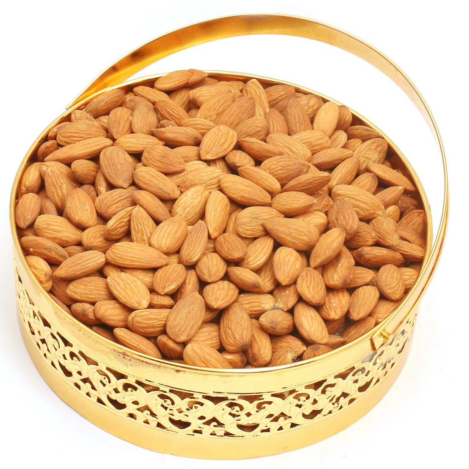 Round Golden Almonds Basket