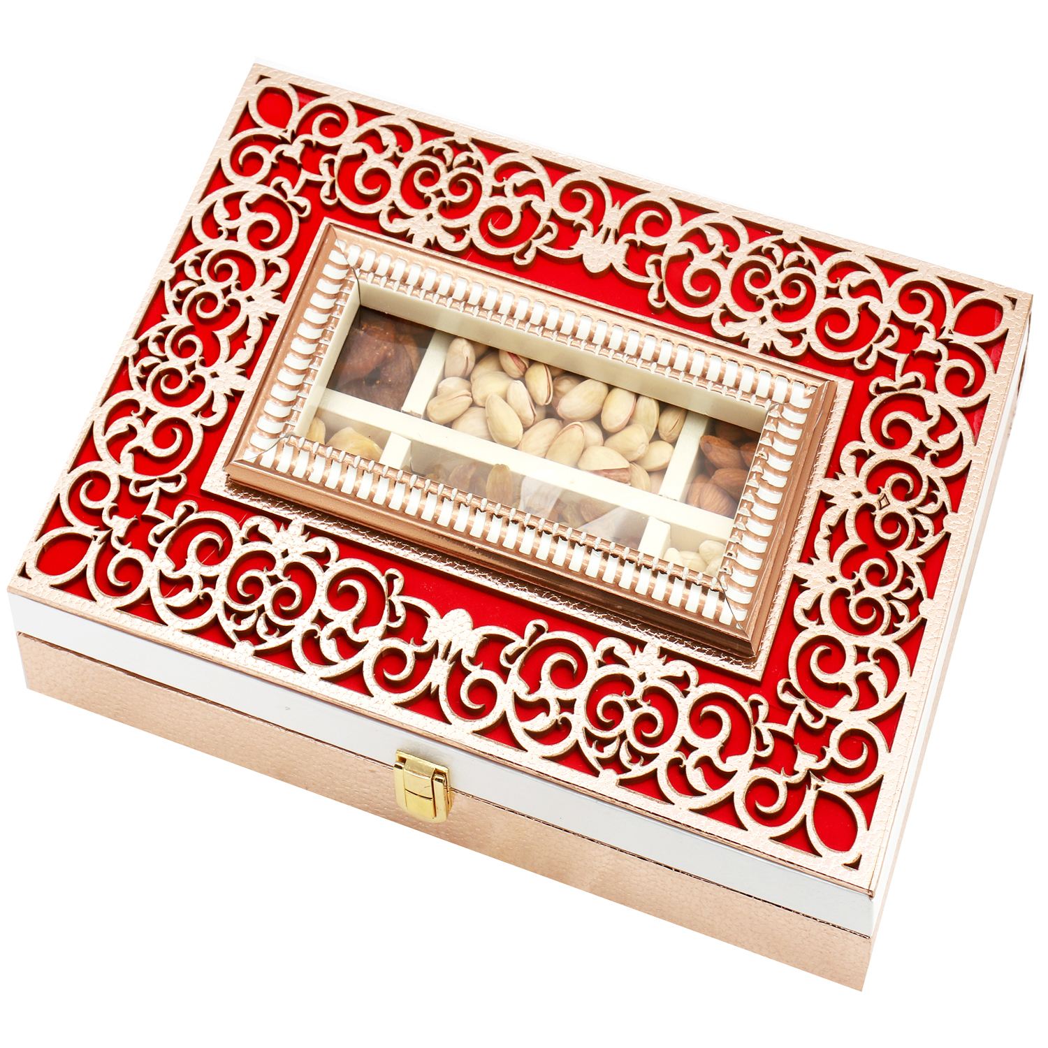 Wooden Lazer Red 6 Part Assorted Dryfruit Box