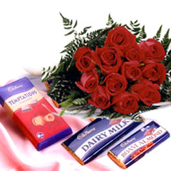 12 Red Roses Bunch with 10 Assorted Chocolates