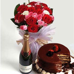 Mix Roses Bunch, 1/2Kg Chocolate Cake n Wine