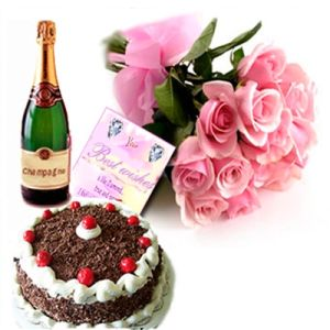Roses, Black Forest Cake and Champagne