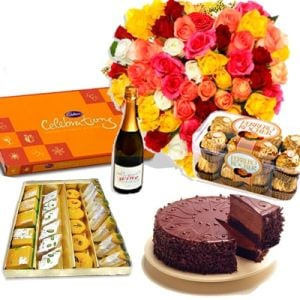 Wine Flower Gift Hamper