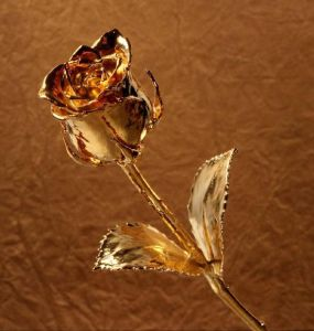 Gold Plated Natural Rose Flower Stick 8 Inch