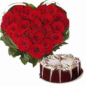 50 Red Roses and 1Kg Eggless Chocolate Cake