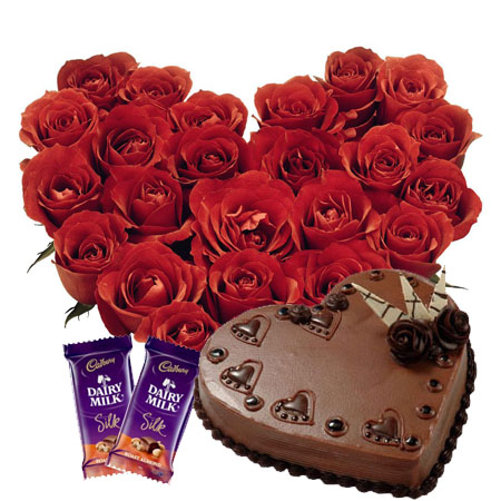20 Heart Shaped Red Roses with Heart Cake and Silk Chocolates