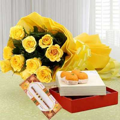 Rakhi with 1Kg Motichoor Ladoo and Bunch 12 Yellow Roses