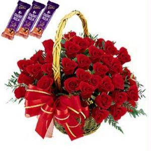 Rose Basket with Dairy Milk Silk Chocolates
