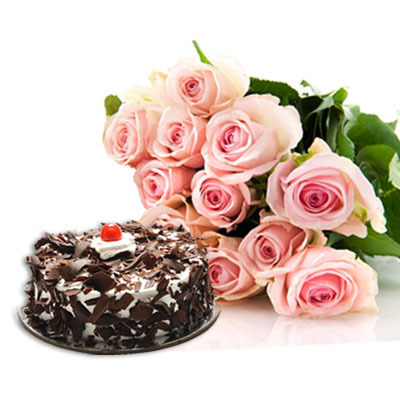 12 Pink Roses with 1/2 Kg Black Forest Cake