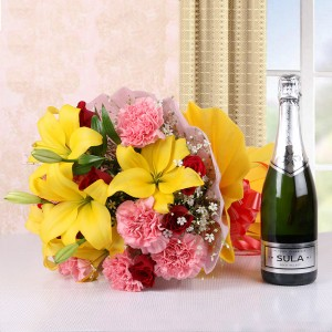 Mixed Flowers with Branded Indian Champagne