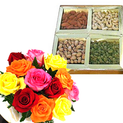 12 Mix Roses with Dry Fruits