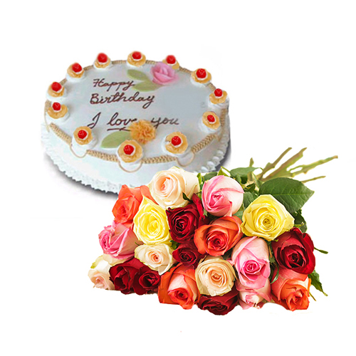 Mix Roses with Pineapple Cake