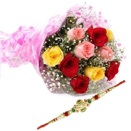 10 Mixed Roses Bunch with Rakhi
